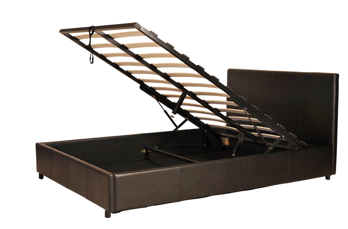 Prado Gas Lift Storage Faux Leather Bed Stead In Black Or